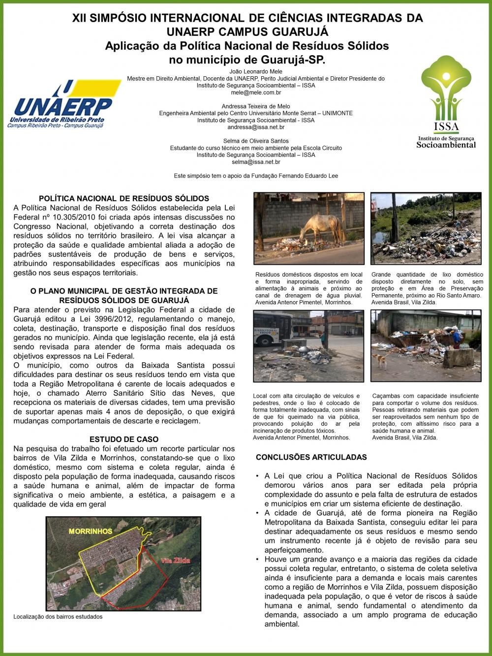 Aplicação da Política Nacional de Resíduos Sólidos no município de Guarujá-SP